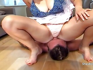 British blonde Tequilia puts ass and pussy in guys face