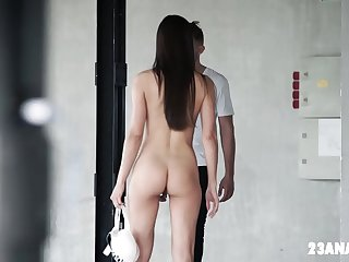 Gorgeous Petite Lilu Moon Mounts White Dick in her Ass