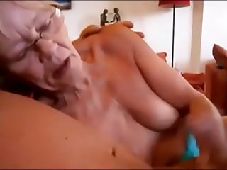 Granny Giving Handjob till Cum and Suck Cum