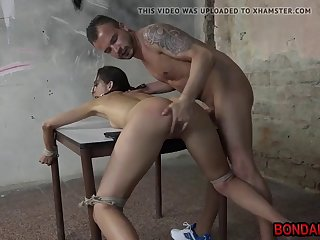 miky love tied to a table and hardcore fucked from behind
