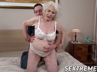 blonde grandma has her pussy licked and drilled balls deep