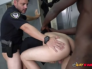 gay cops get their assholes drilled inside the locker room