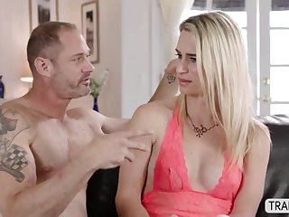 hot busty ts bianca reis enjoys threesome with two bigcocks