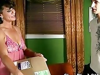 horny housewife fucks delivery young man
