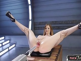 Machine loving glam babe gets stuffed